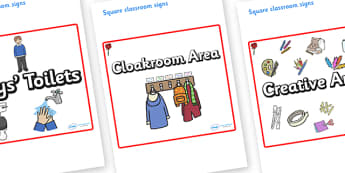 Rose Themed Editable Square Classroom Area Signs (Plain) - Themed Classroom Area Signs, KS1, Banner, Foundation Stage Area Signs, Classroom labels, Area labels, Area Signs, Classroom Areas, Poster, Display, Areas