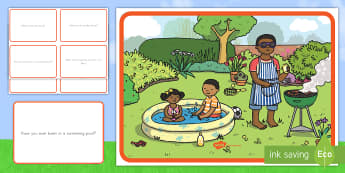 Summer Barbecue Scene and Question Cards - summer, summer season, first day of summer, summertime, scene and question cards, barbecue, summer b