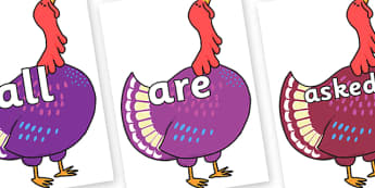 Tricky Words on Hullabaloo Turkey to Support Teaching on Farmyard Hullabaloo - Tricky words, DfES Letters and Sounds, Letters and sounds, display, words