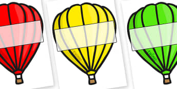 Editable A4 Hot Air Balloons (Plain) - Hot air balloon, balloon, display, poster, editable, label, template, birthday display