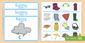Weather Clothes Sorting Activity English/Mandarin Chinese - Weather Clothes Sorting Activity - clothes sorting activity, weather and the seasons, clothes, weath
