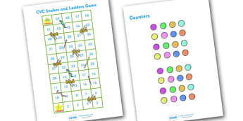 Snakes and Ladders CVC (1-50) - snakes and ladders, 1-50, game, activity, numeracy, maths, calculation, CVC