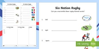 Rugby Six Nations Differentiated Word Unscramble - KS1 & KS2 Rugby Six Nations  (4th February 2017), rugby, nation, England, Ireland, Wales, Scotland,