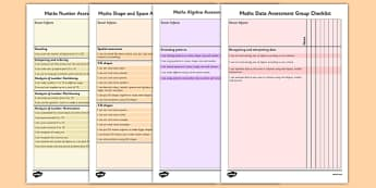 1999 Curriculum Senior Infants Maths Assessment Group Checklist Pack - assessment checklist, maths, senior infants, group