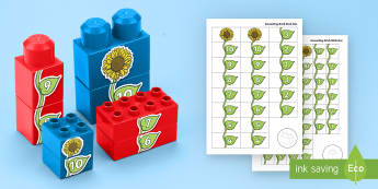 Number Sunflower to 10 Connecting Bricks Game - EYFS, Early Years, KS1, Connecting Bricks Resources, duplo, lego, plastic bricks, building bricks, p
