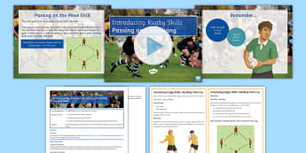 Rugby: Warm-Up, Passing and Receiving Lesson Pack - Rugby, Warm up, Passing, Receiving, pupil, Activity