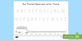 Bus Uppercase Letter Tracing Activity Sheet - USA Back to School, USA Start of school, USA Beginning of School, First Day of School, Back to Schoo