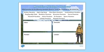 Mountains of Ireland, Provinces Activity Sheet-Irish, worksheet