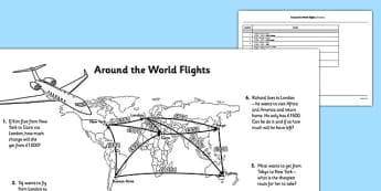 Multi-Step Problems Around the World Flights - 2 step problems, real life, context