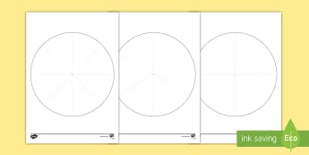 Pie Chart Template Activity Sheet - Interpret and construct pie charts and line graphs and use these to solve problems, Y6, Year 6, Key