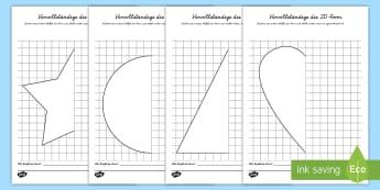 Vervollständige die 2D Form Arbeitsblätter  - Formen, Zeichnen, Symmetrie, symmetrisch, fertig zeichnen, malen, ,German