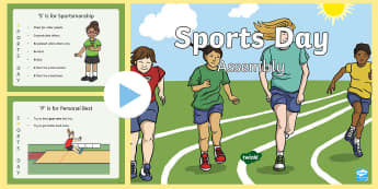 KS1 Sports Day Assembly  PowerPoint - P.E., Field, Athletic, Values, Facts, Information, Famous Athletes