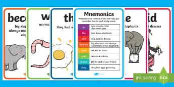 Spelling Mnemonics Display Posters