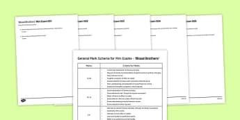Blood Brothers Mini Exam Pack - Blood Brothers, Mini Exam, Exam Practice, Exam Questions, Mark Scheme, Mrs Johnstone, Mrs Lyons, Edward, Mickey, Linda, Sammy, Mr Lyons, Narrator