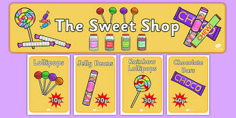 Sweet Shop Role Play Display Banner - sweets, shop, role play, play, pack, candy, candy shop, display, banner, sign, poster, lollipop, pick and mix