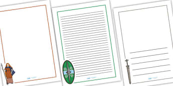 Boudicca Page Borders - boudicca,  page borders, writing frames, lined pages, writing guides, lined guides, line guide, writing templates, writing aid