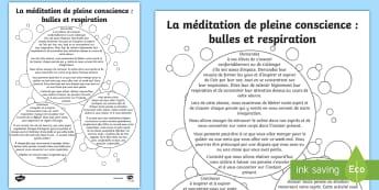 Feuille d'activité, méditation de pleine conscience : Bulles et respiration - Relaxation, pensée positive, anti-stress, inspirer, travail sur soi,French