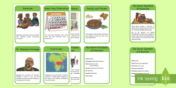 All About Kwanzaa Read It Information Cards - Kwanzaa, African American, Dr Maulana Karenga, symbols, flag, Swahili.