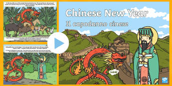 Chinese New Year Story PowerPoint English/Italian - interactive, powerpoint presentation, zodiac, animals, rat, cat, horse, dragon, rooster, monkey, pig