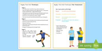 Rugby: Punt Kick Techniques Card - Rugby, KS3, Kicking, Punt Kick, Technique, peer and self assessment
