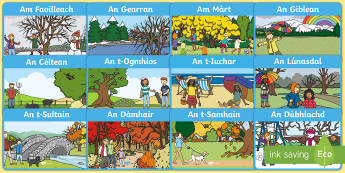 Months of the Year Display Poster Gaelic - CfE Gaelic DisplayCfE Months of the Year Display postersCurricular AreasMonths of the yearTime,Scott