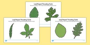 Leaf Shaped Threading Cards - leaf shape, threading cards, threading, cards