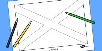 Jamaica Flag Colouring Sheet - geography, countries, colour