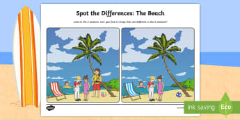 The Beach Spot the Differences Activity Sheet - ROI Summer Resources, summer, oral language, spot the differences, worksheet, pair work, vocabulary,