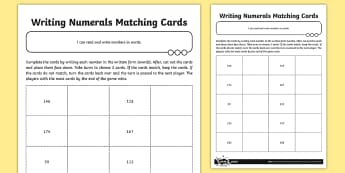 Writing Numbers in Words Matching Cards - written form, numerical form, Number and Place Value, game,  maths mastery, year 3, fun maths, numbe
