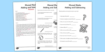 Mental Maths Addition and Subtraction Activity Sheet Pack - Maths, KS1, KS2, word problems, addition, subtraction, worksheet