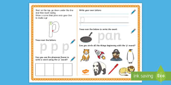 UAE EY 'p' Sound Activity Mat - Letters and Sounds, grapheme, phoneme, satpin, letter formation, handwriting, EYFS, Development matt