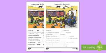 Ficha de actividad: Completar la frase - Preposiciones - preposiciones, aula, colegio, ficha, rellenar, rellena, completar, vocabulario, lugar, situacional,