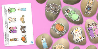 Story Stone Cut Outs to Support Teaching on Cinderella - story stone, cut outs, cinderella