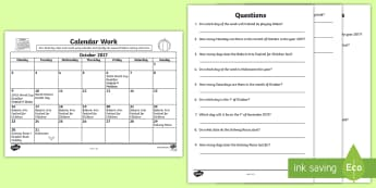 Problem Solving - Calendar Work October 2017 Activity Sheet - Ireland, Questions, Time, Months,Irish, Worksheet