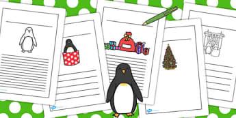 Monty the Penguin Writing Frames - monty, penguin, writing, frame
