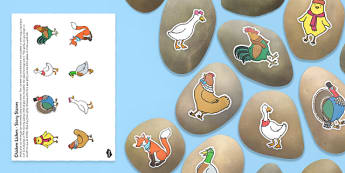 Chicken Licken Story Stone Image Cut Outs - story stone, cut outs
