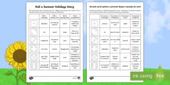 Roll a Summer Holidays Story Storyboard Template English/Romanian - End of Year, summertime, summer, summer holidays, story writing, roll a story,UK, EAL