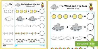 The Wind and The Sun Up to 20 Addition Sheet - wind, sun, man, story, traditional tale, Thai, English