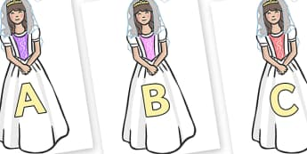 A-Z Alphabet on Princesses - A-Z, A4, display, Alphabet frieze, Display letters, Letter posters, A-Z letters, Alphabet flashcards