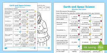 Year 2 Earth and Space Science Questions and Colouring Activity Sheets - ACSSU032, australian science, Natural resources, water, converation, precipitation, worksheets