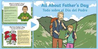 EYFS All About Father's Day PowerPoint English/Spanish - EYFS One Off Resources, fathers day, dad, daddy, grandad, powerpoint, history, information. , eyfa,