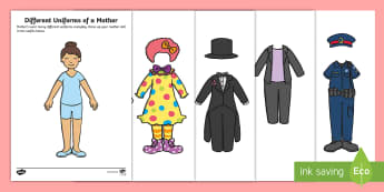Different Uniforms of a Mother Paper Doll Activity - Canada Mother's Day 14th May, Drama, mother's day, mom, mum, family