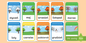 Karty Nazwy miesięcy - miesiące, miesięcy, tygodni, tygodnie, dni, czas, kalendarz, pory, pora, roku, nazwy, lato, jesie