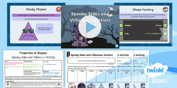 PlanIt Y2 Properties of Shapes 2D Shapes (1) Lesson Pack - 2D Shape, identify and describe, including the number of sides, shady shapes, key stage one, key sta