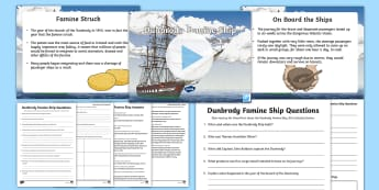 Dunbrody Famine Ship PowerPoint and Resource Pack - Coffin Ship, Emigration, Starvation, Disease, Death