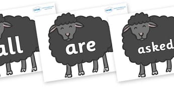 Tricky Words on Baa Baa Black Sheep - Tricky words, DfES Letters and Sounds, Letters and sounds, display, words
