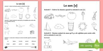 Feuille d'activités : Le son [v] - Son [v], Lecture, Français, Cycle 2, Cycle 1, Reading, Sound,French