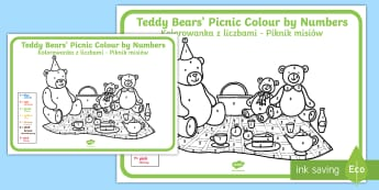 Teddy Bears' Picnic Colour by Numbers English/Polish - Teddy Bears' Picnic Colour By Numbers - teddy, colour, game, count, numbes, colourby numbers, coloy