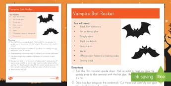 Vampire Bat Rocket Activity - Halloween, STEM, Explosion, Force, motion, craft, reaction, volcano