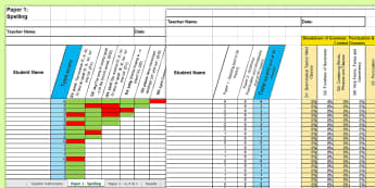 Y2 Grammar, Punctuation and Spelling Analysis Grid for KS1 2016 SATs Past Paper Assessment Spreadsheet - SATs Survival Materials Year 2, SATs, assessment, 2017, English, SPaG, GPS, grammar, punctuation, sp